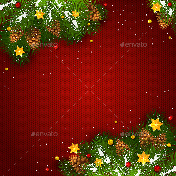 Christmas Decorations with Snow and Stars on Red Knitted Background - Christmas Seasons/Holidays