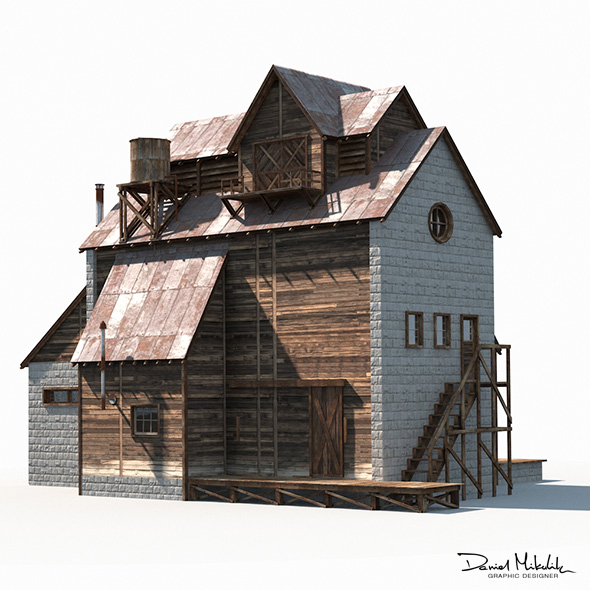 Old Factory Barn Low Poly - 3DOcean Item for Sale