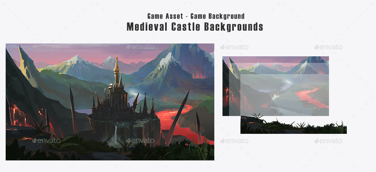 5 Castle 2d Game Backgrounds Parallax And Stackable By