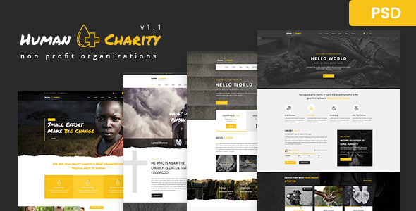 Human Charity - Multi-Purpose Crowdfunding, Church, Fundraising, Non-Profit PSD