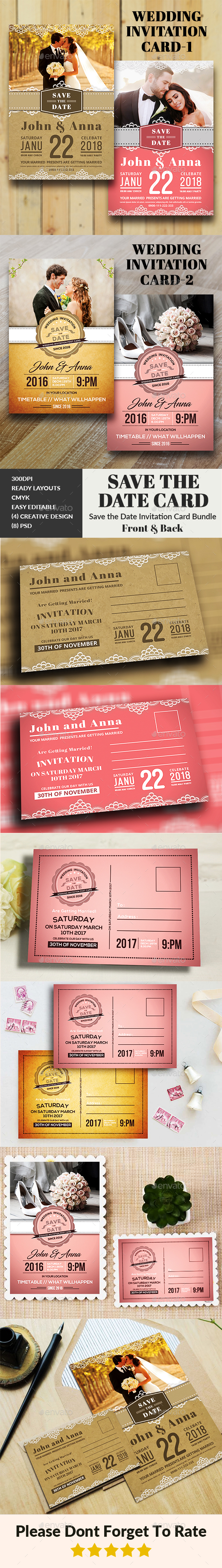 GraphicRiver Wedding Invitation Card Bundle 20939585
