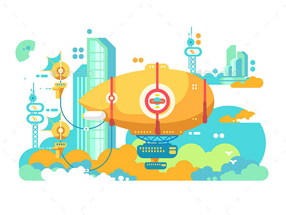 Airship Hovering in City Design Flat - Miscellaneous Vectors