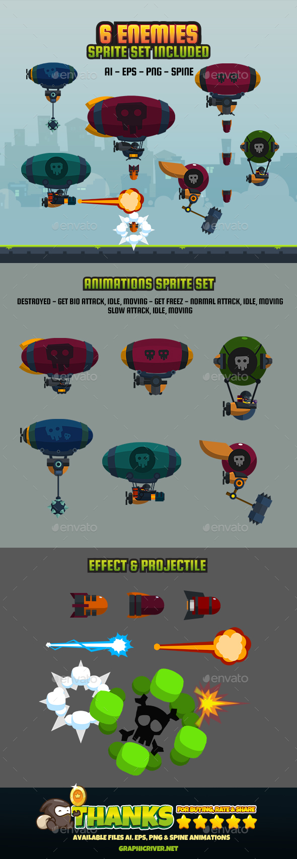 6 Enemy Flat V2 - Sprites Game Assets
