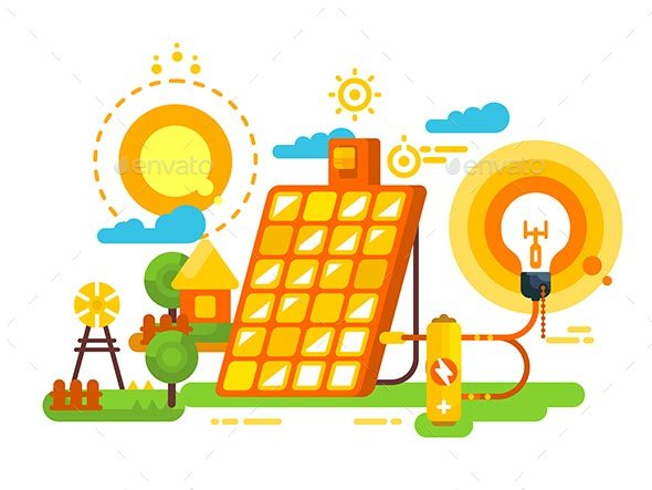 Solar Battery for Lighting and Energy Design - Miscellaneous Vectors