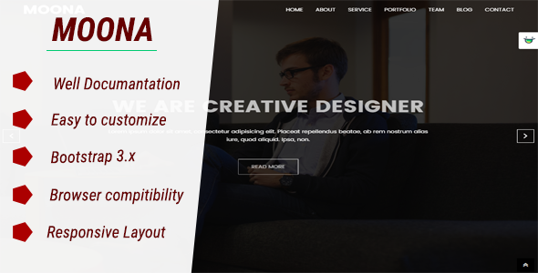 Download Free MOONA - Responsive Portfolio HTML Template