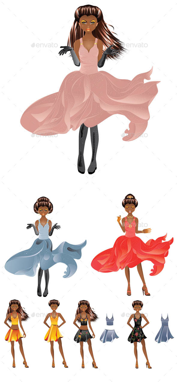 Afro American Girl in Dress - People Characters