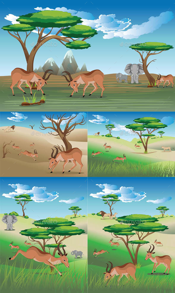 Landscape with Antelopes - Animals Characters