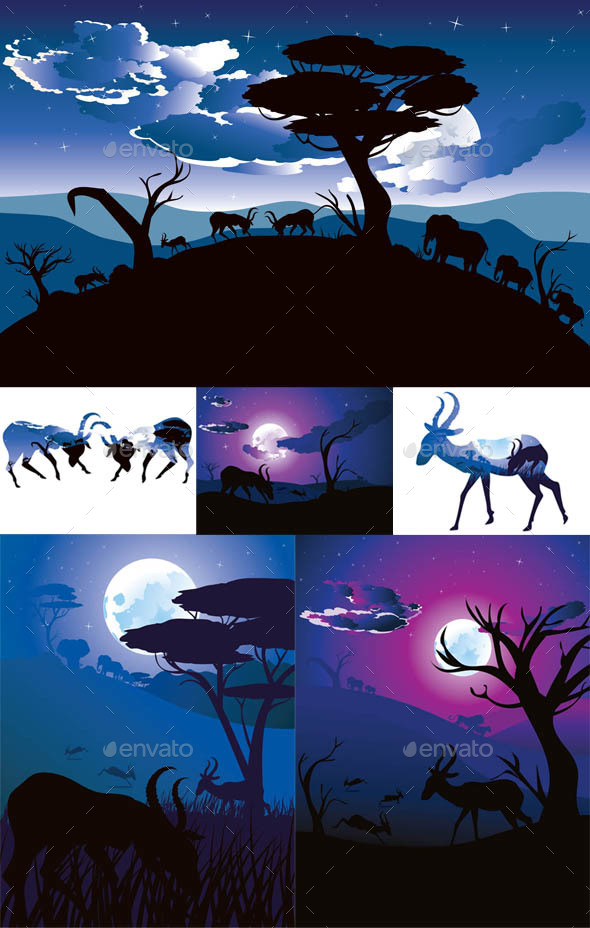 Night Landscape with Antelopes - Animals Characters
