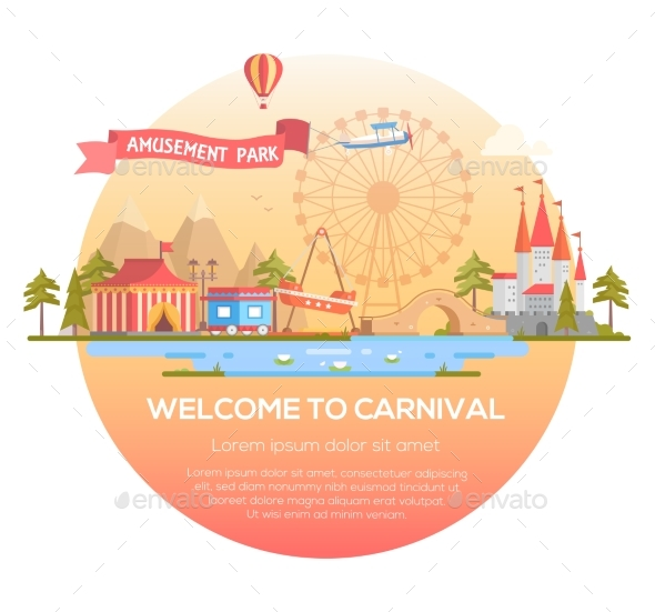 Welcome To Carnival - Modern Vector Illustration - Web Elements Vectors
