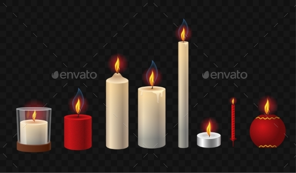 Burning Candles - Realistic Vector Isolated Clip - Man-made Objects Objects