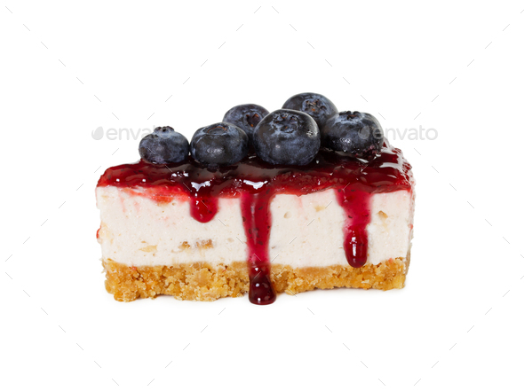 Piece of cheesecake with jam and fresh blueberries - Stock Photo - Images