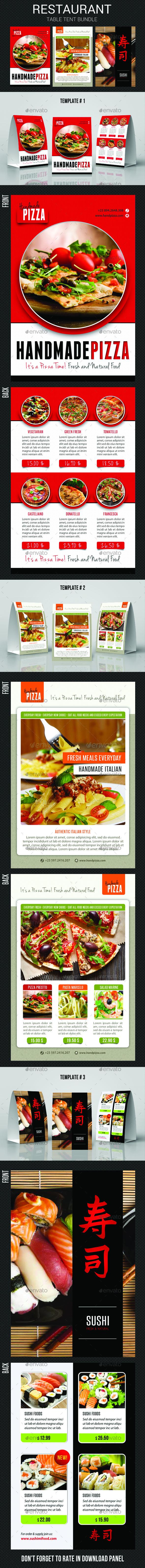Restaurant Table Tent Bundle - Food Menus Print Templates