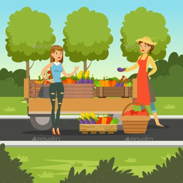 Farmer Woman Selling Fresh Vegetables From Wooden - Food Objects