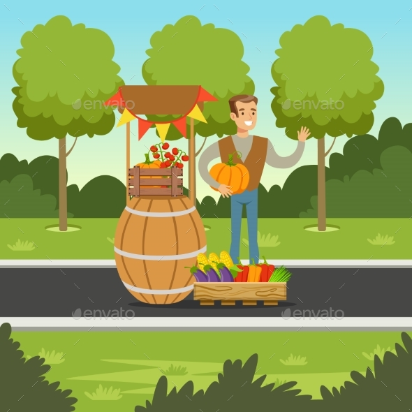Cheerful Farmer Man Selling Vegetables - Food Objects