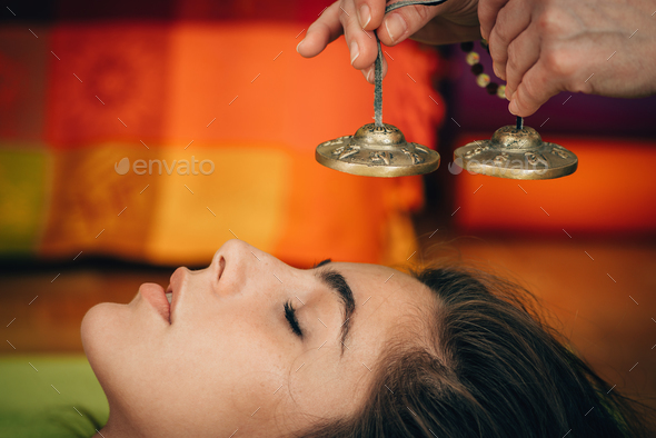 Tibetan bells in sound therapy - Stock Photo - Images