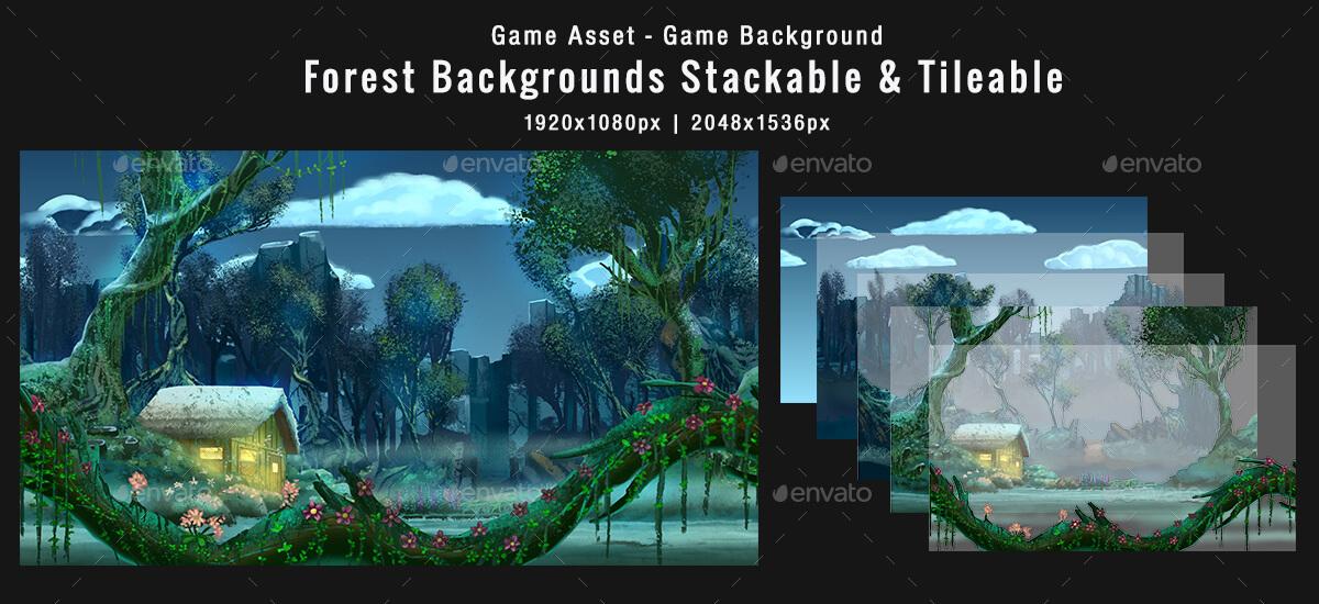 5 platformer forest game backgrounds
