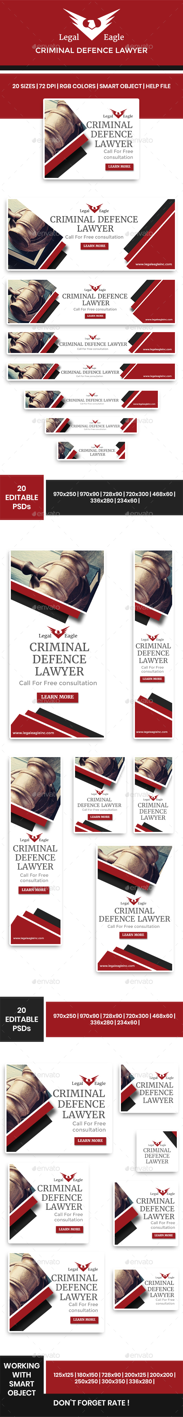 Legal Eagle: Criminal Defence Lawyer Web Banners - Banners & Ads Web Elements