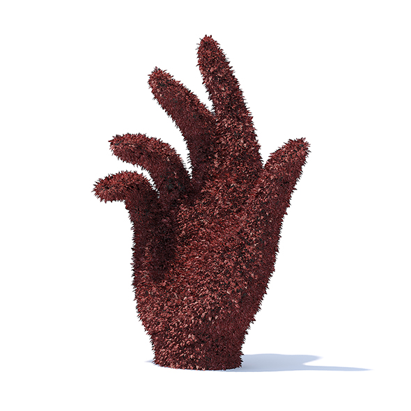 Hand Shaped Red Hedge - 3DOcean Item for Sale
