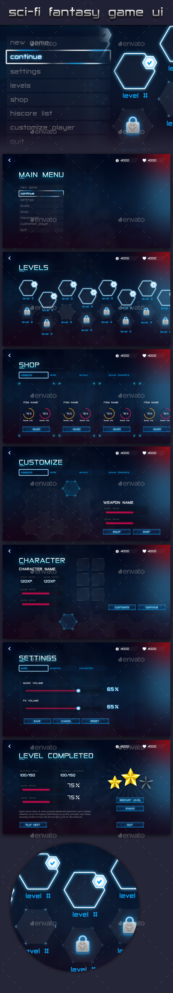 Futuristic Fantasy Game UI - User Interfaces Game Assets