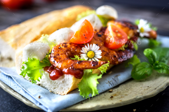 Sandwich with prawn and vegetables - Stock Photo - Images