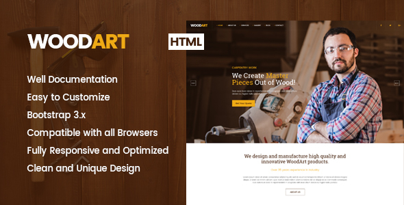 ThemeForest WoodArt Carpenter HTML Template 20941052
