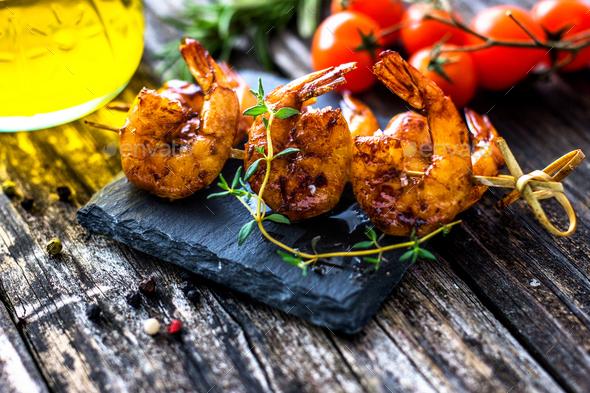 Grilled Honey Soy Shrimp - Stock Photo - Images