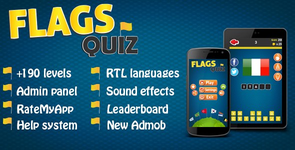 Flags Quiz - Android Game + Admin Panel - CodeCanyon Item for Sale