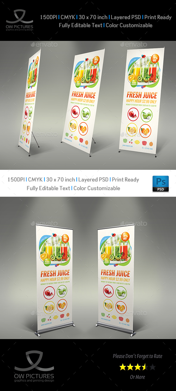 Fresh Juice Signage Banner Roll Up Template - Signage Print Templates