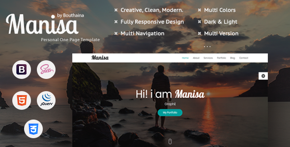 ThemeForest Manisa Personal One Page Template 20856030