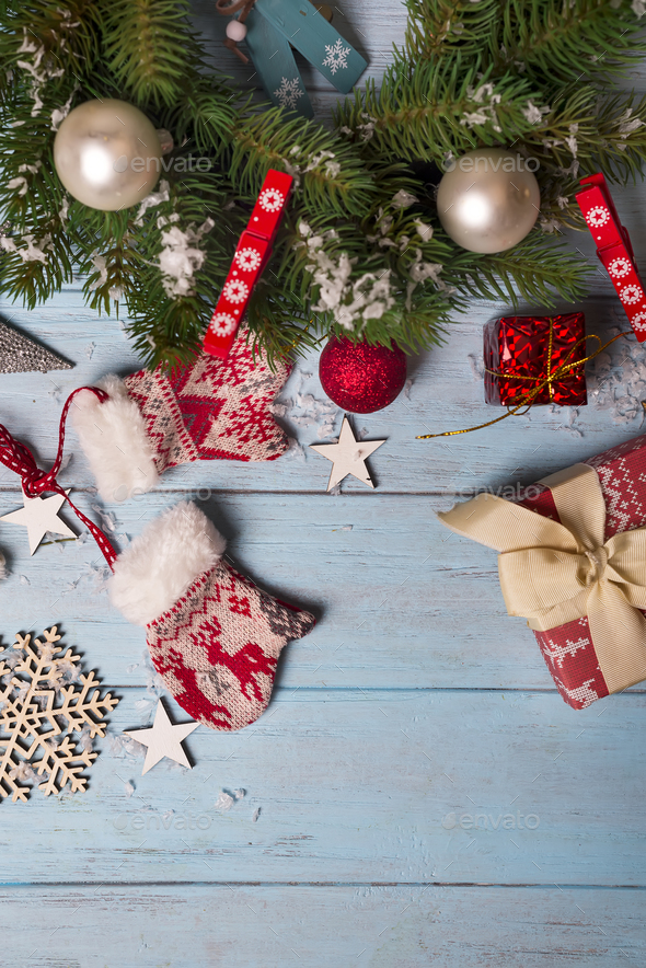 Merry Christmas. Christmas background with fir tree - Stock Photo - Images