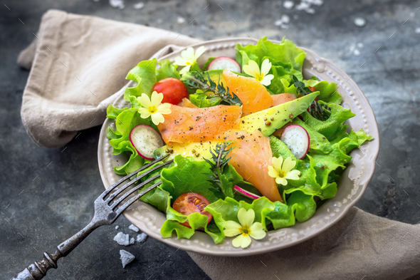 Salad with avocado and smoked salmon - Stock Photo - Images