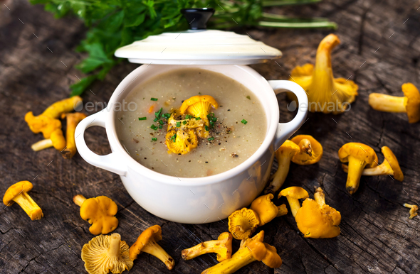 Delicious creamy mushroom  soup with chanterelle - Stock Photo - Images
