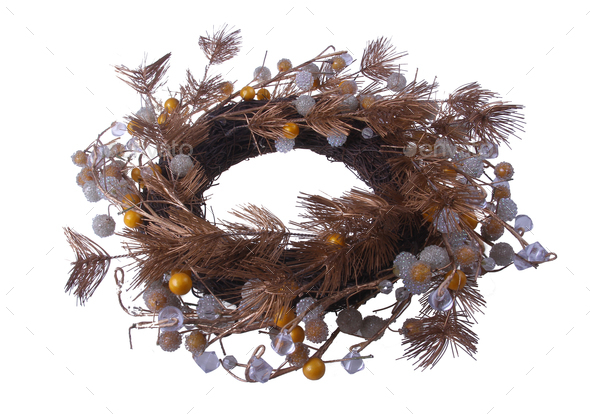 Artificial Twig Wreath isolated - Stock Photo - Images