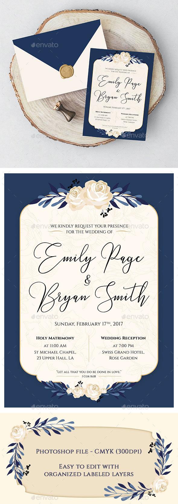 Blue Rose Wedding Invitation - Weddings Cards & Invites