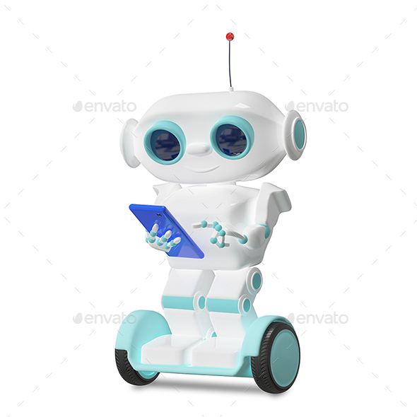 3D Illustration Robot on Scooter with Smartphone - Characters Illustrations