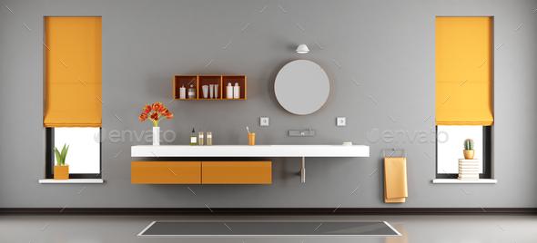 Modern bathroom with washbasin - Stock Photo - Images