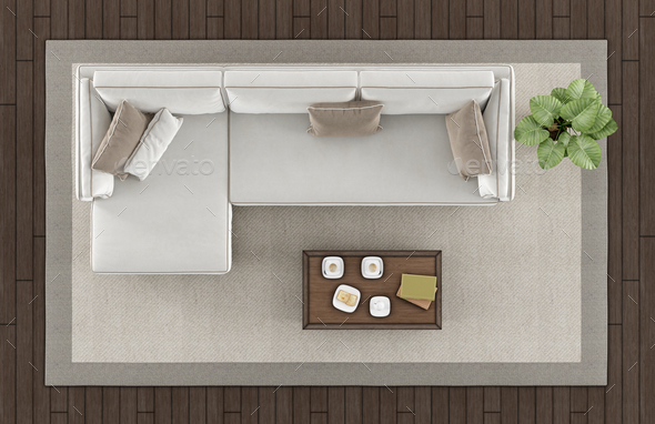 Top view of a modern living room - Stock Photo - Images