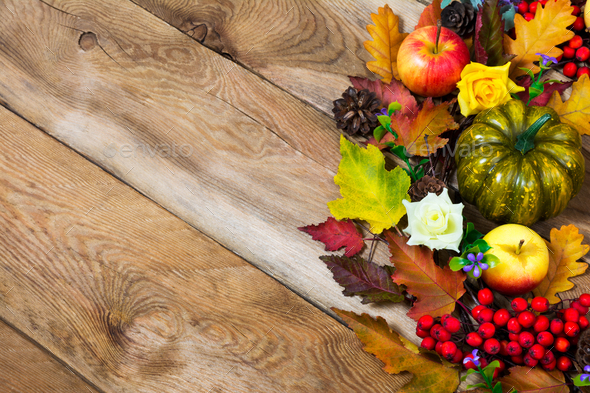 Fall rustic background with colorful fall leaves, green pumpkin, - Stock Photo - Images