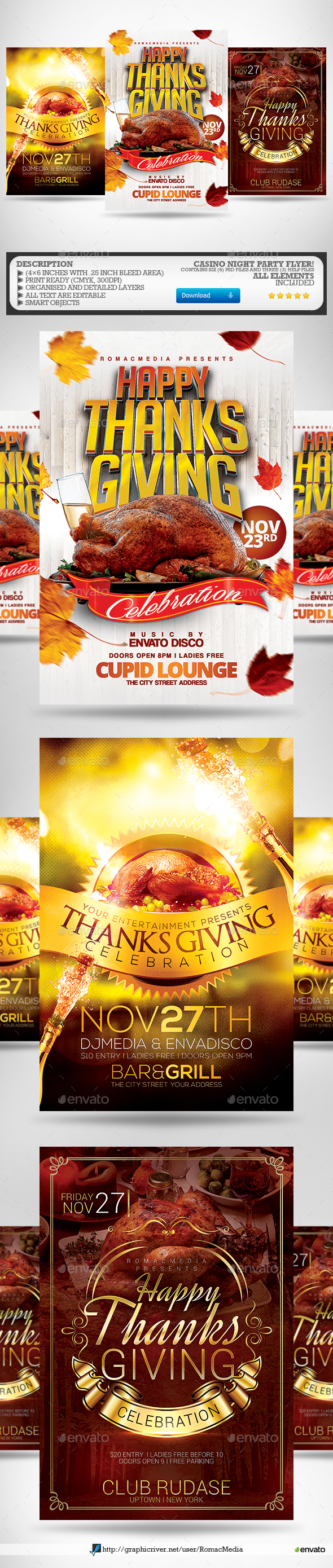 Thanksgiving Party Flyer Bundle - Clubs & Parties Events