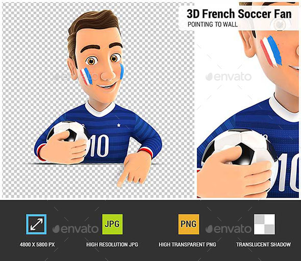 GraphicRiver 3D French Soccer Fan Pointing to Empty Wall 20941740
