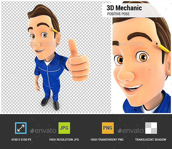 GraphicRiver 3D Mechanic Positive Pose with Thumb Up 20941759