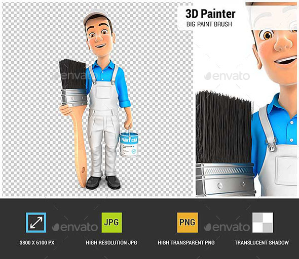 GraphicRiver 3D Painter Standing Next to Big Paint Brush 20941770