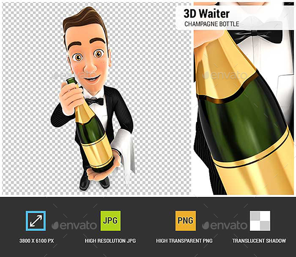 GraphicRiver 3D Waiter Holding Champagne Bottle 20941784