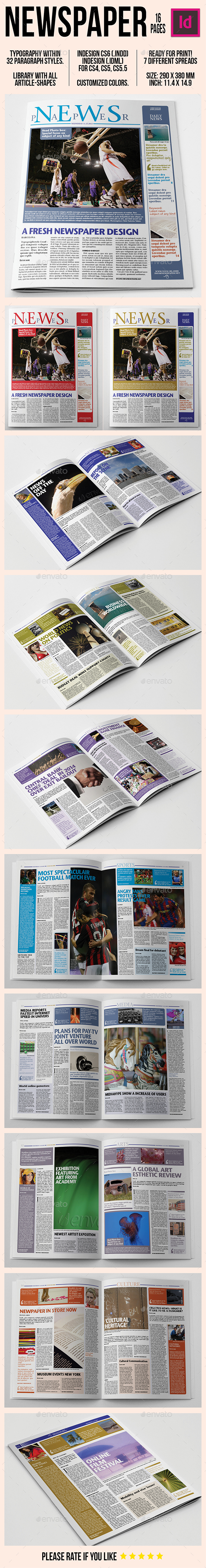 NEWSPAPER 16 pages - Newsletters Print Templates