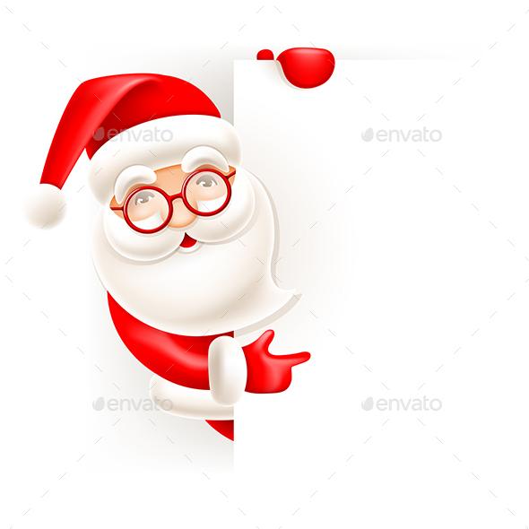 Santa Cartoon Pointing From Behind Signboard - Christmas Seasons/Holidays