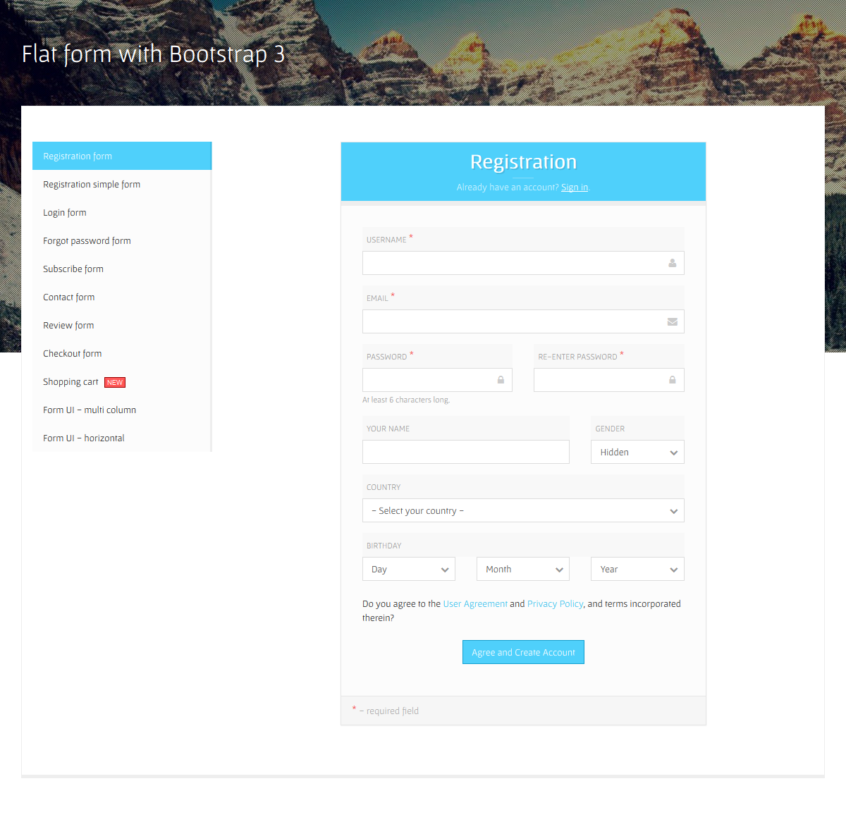 Flat Form with Bootstrap 3 by davidtovt | CodeCanyon