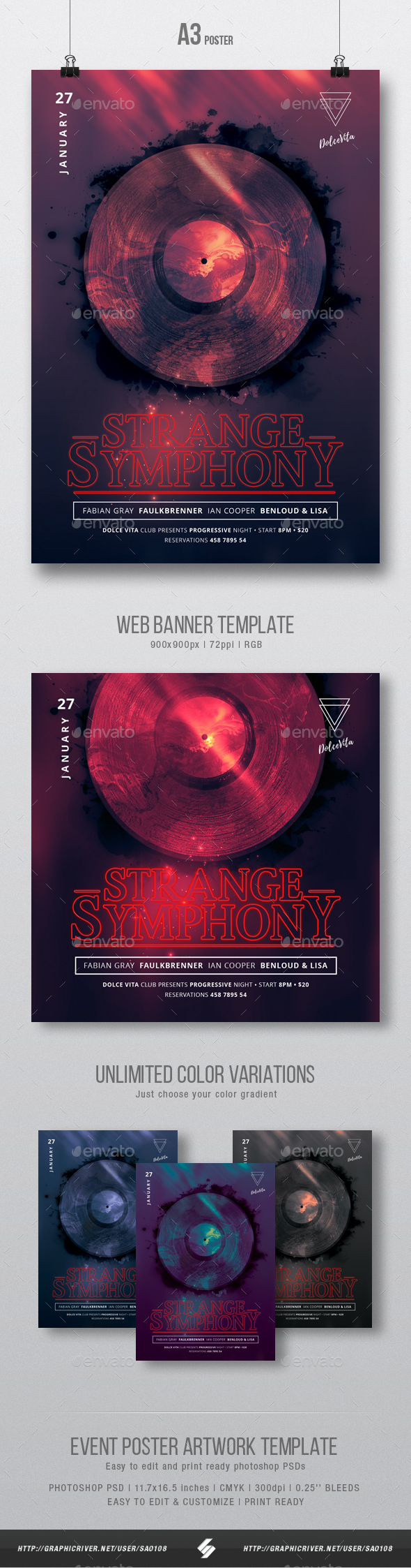 GraphicRiver Strange Symphony Dark Party Flyer Poster Artwork Template A3 20941983