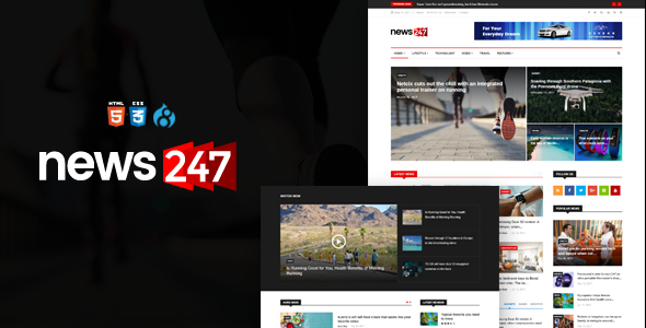 News247 - News Magazine Drupal 8.4 Theme