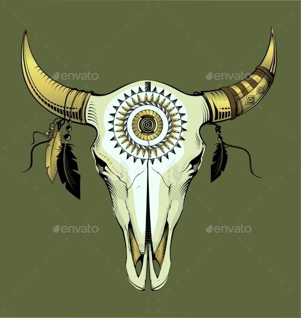 Vector Illustration Bull Skull Ethnic Style - Animals Characters