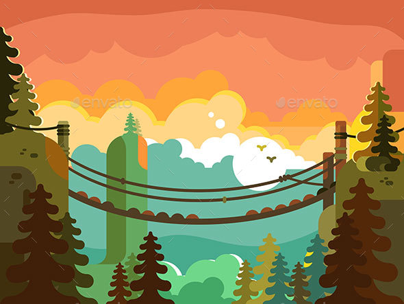 Suspension Bridge in Jungle Design Flat - Miscellaneous Vectors